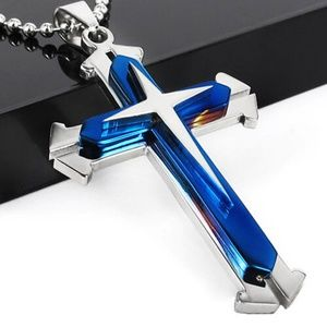 Other - Men Silver Stainless Steel Cross Pendant Necklace